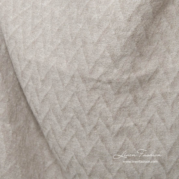 Light grey zig zag pattern linen fabric, washed 3