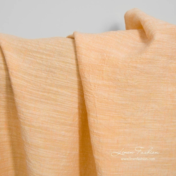 Wide washed linen cotton fabric in peach 1