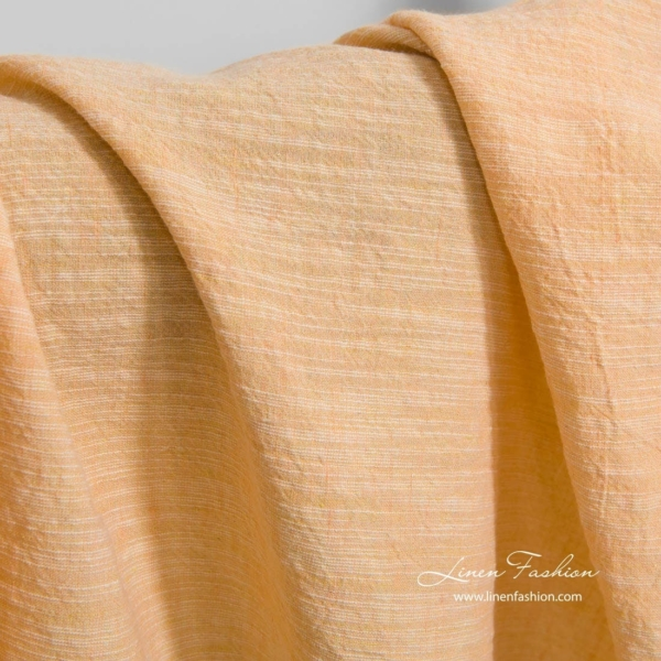 Wide washed linen cotton fabric in peach 2