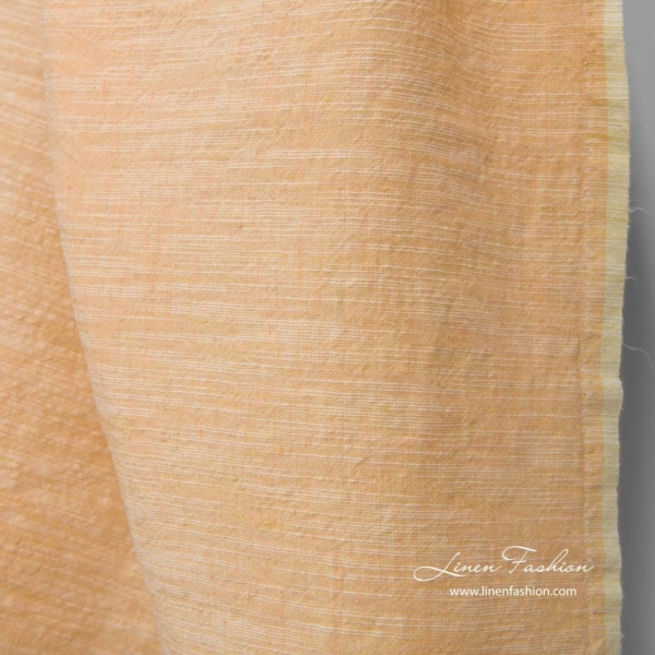 Wide washed linen cotton fabric in peach 3