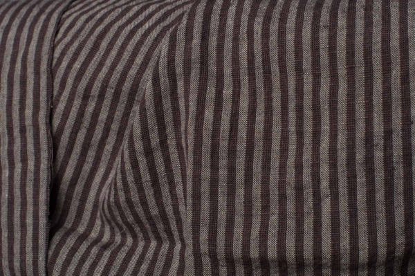 Brown striped linen wool blend fabric, washed 1