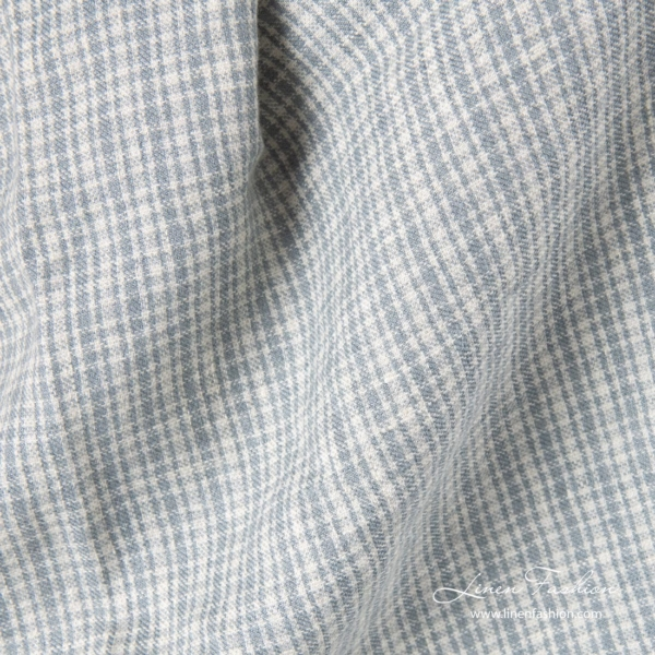 Linen wool fabric in gray checks, washed 1