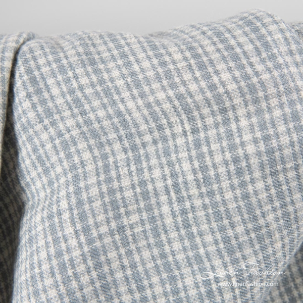 Linen wool fabric in gray checks, washed 3