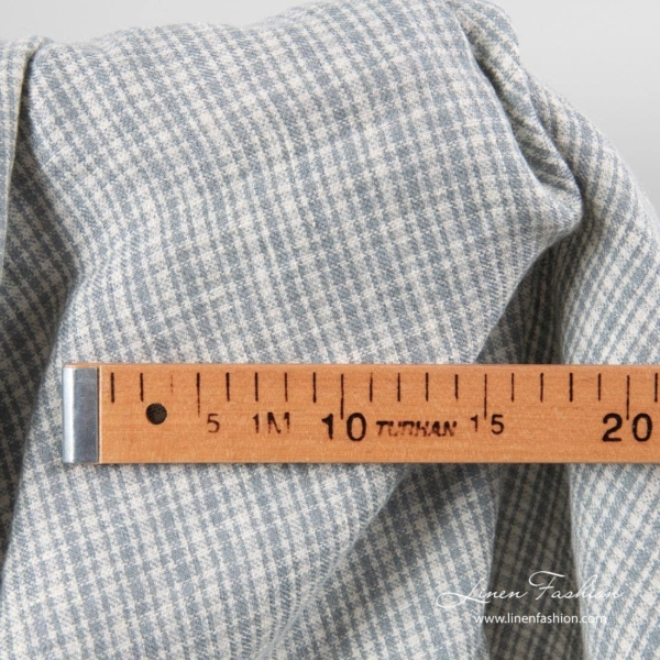 Linen wool fabric in gray checks, washed 2