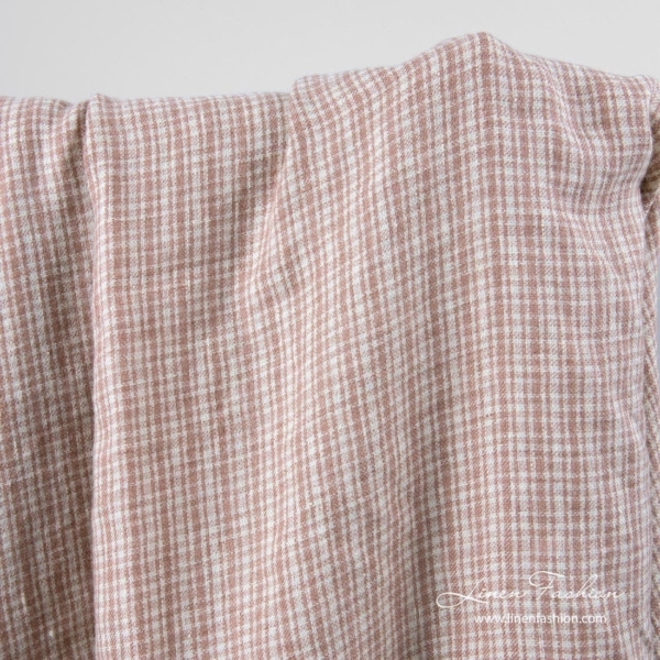 Linen wool fabric with brown checks, washed 1