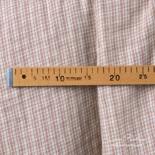 Linen wool fabric with brown checks, washed 2