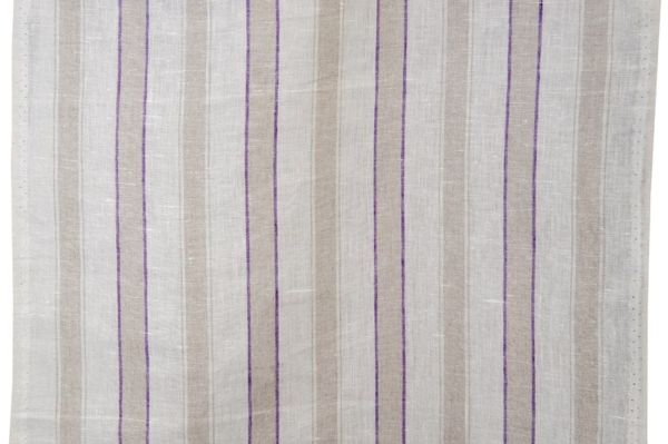 Narrow linen fabric with purple and grey stripes 1