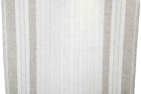 White linen fabric with grey stripes 1
