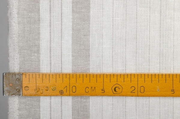 White linen fabric with grey stripes 2