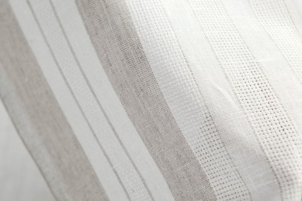White linen fabric with grey stripes 3