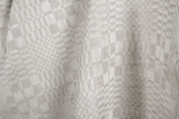 Linen fabric in grey checks 2