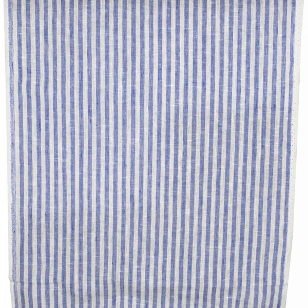 Linen narrow off-white and blue striped fabric 1