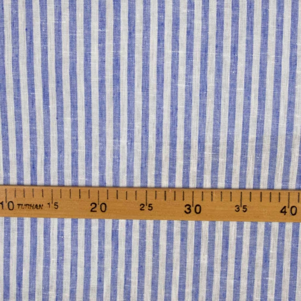Linen narrow off-white and blue striped fabric 2