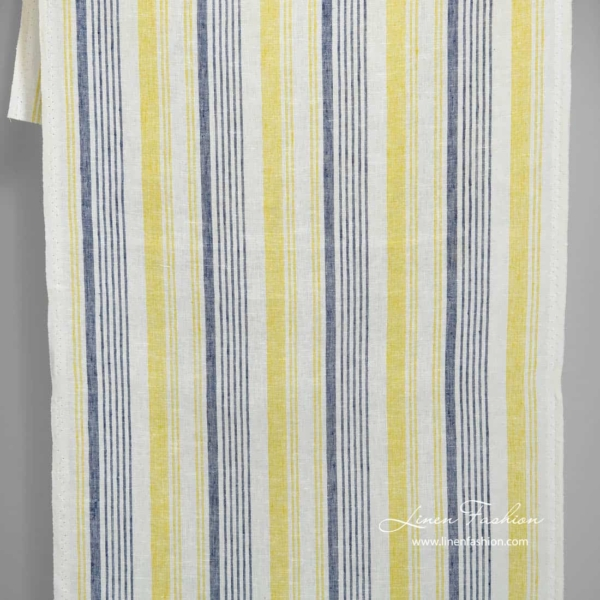 Narrow white linen fabric with blue and yellow stripes 1