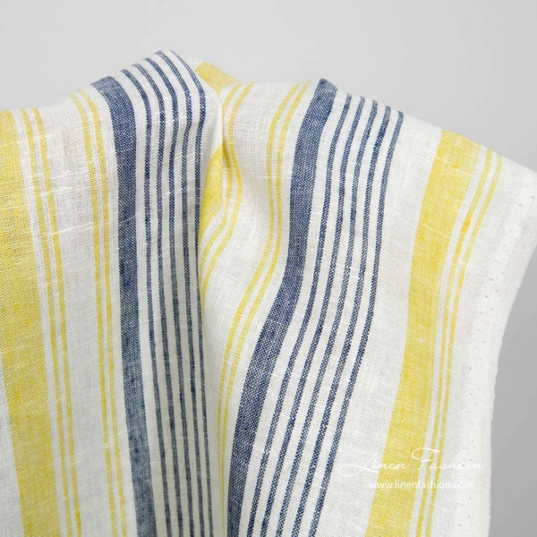 Narrow white linen fabric with blue and yellow stripes 2