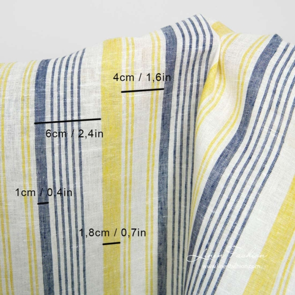 Narrow white linen fabric with blue and yellow stripes 3