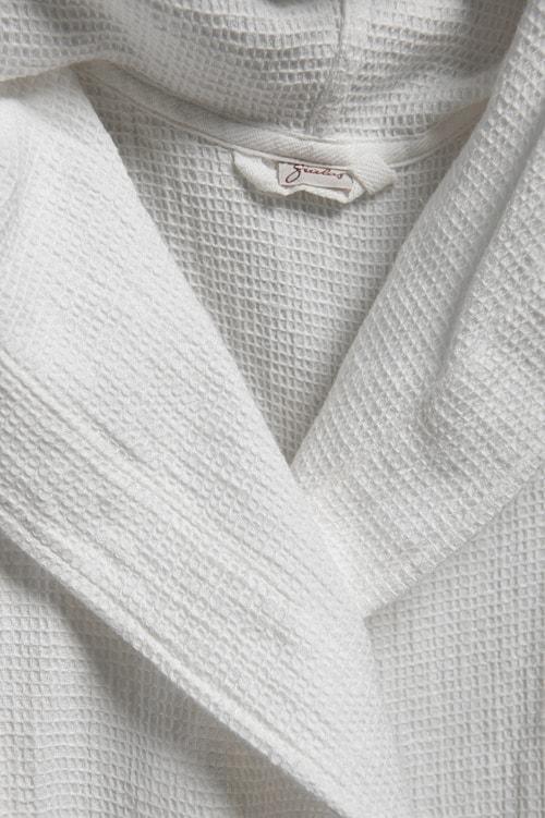 Off-white linen kids' bathrobe with a hood 3
