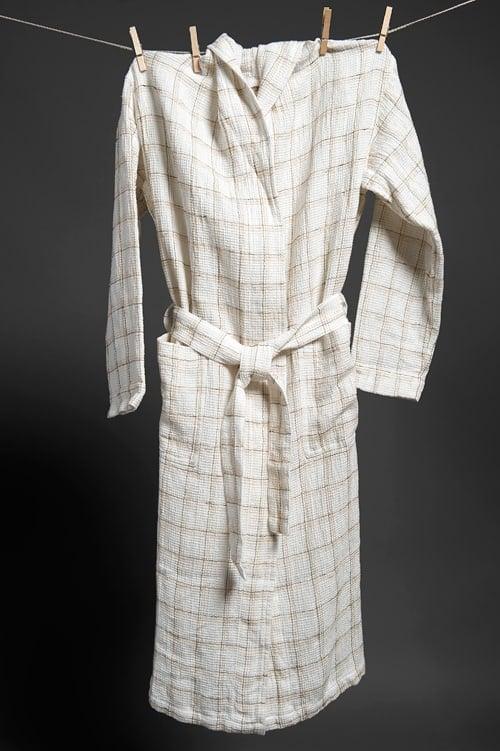 White checked linen women's bathrobe with a hood 1