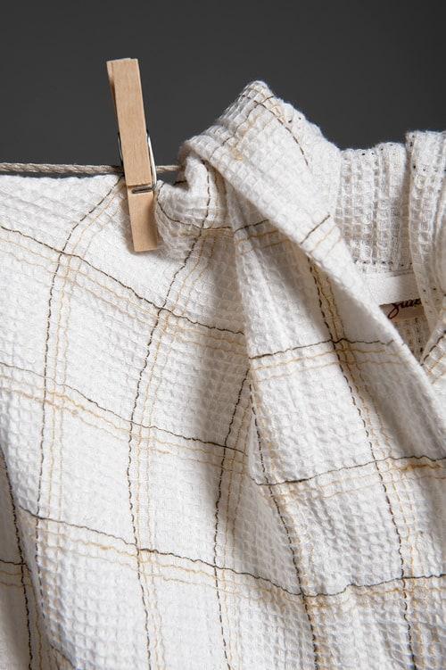White checked linen women's bathrobe with a hood 2