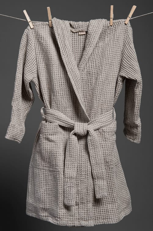 Grey linen kids' bathrobe with a hood 1