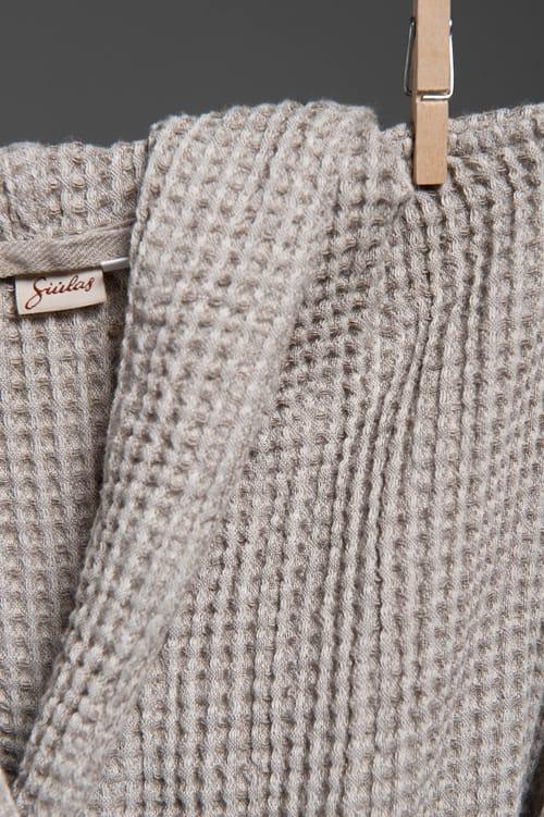Grey linen kids' bathrobe with a hood 2