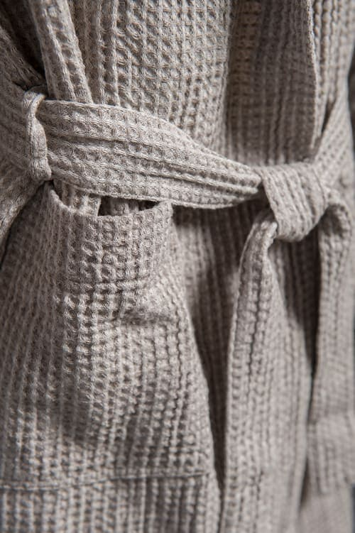 Grey linen kids' bathrobe with a hood 3