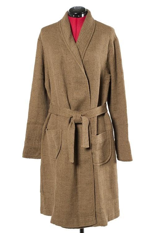 Brown linen women's bathrobe 1