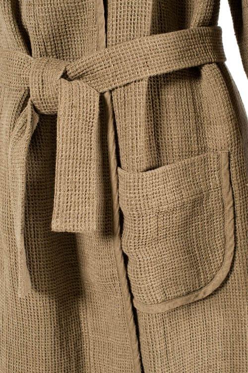 Brown linen women's bathrobe 4