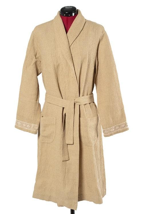 Sand yellow linen women's bathrobe 1
