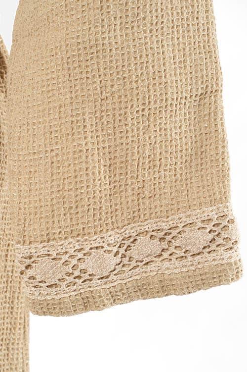 Sand yellow linen women's bathrobe 4