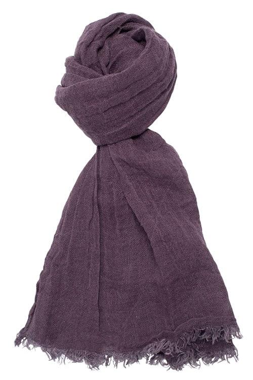 Dark purple linen shawl with fringes 1