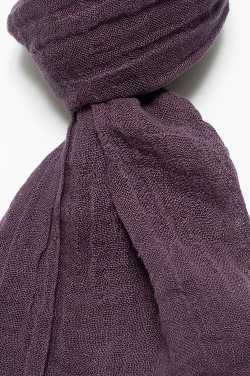 Dark purple linen shawl with fringes 2