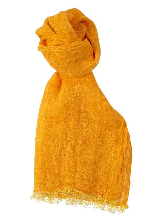 Orange linen shawl with fringes 1