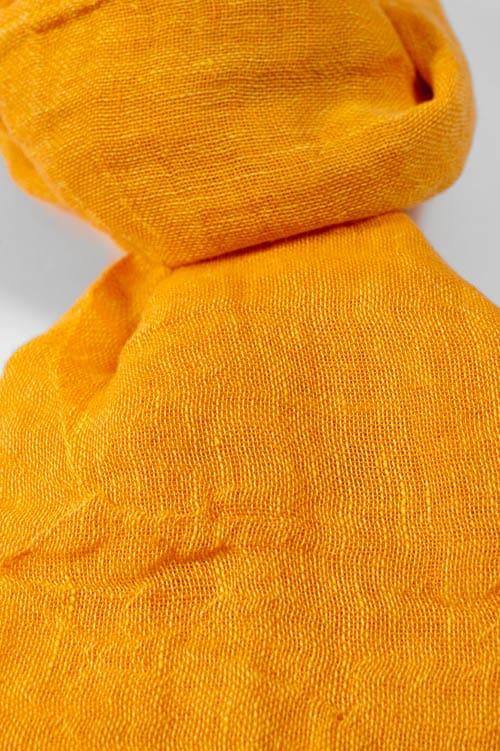 Orange linen shawl with fringes 2