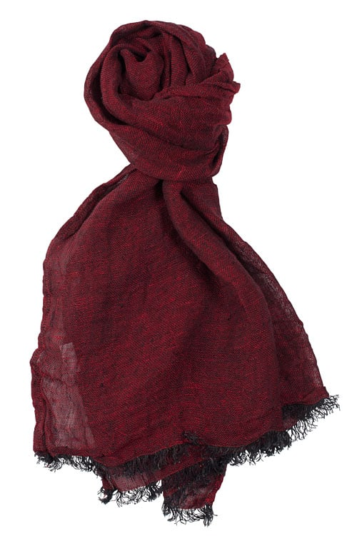 Dark cherry red linen shawl with fringes 1