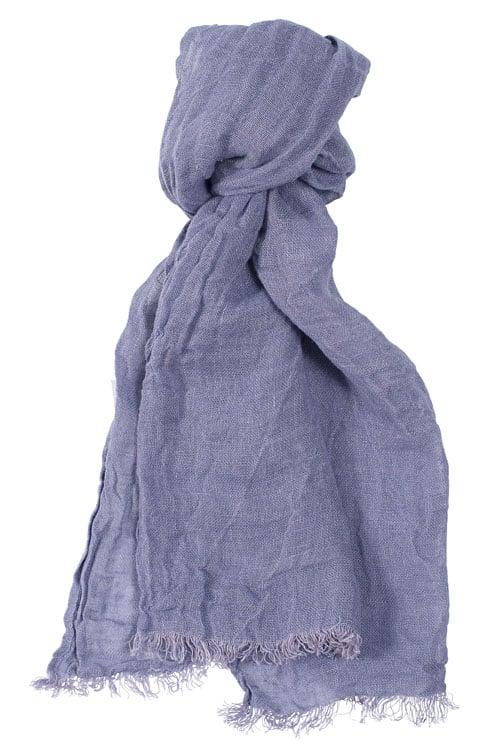 Dark violet linen shawl with fringes 1