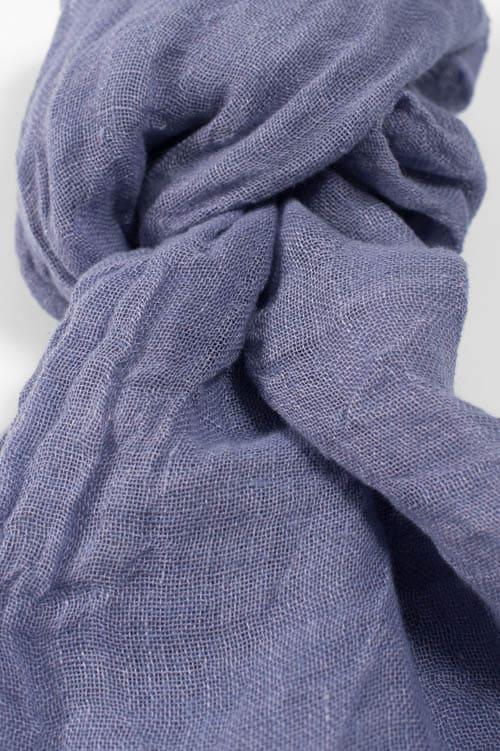 Dark violet linen shawl with fringes 2