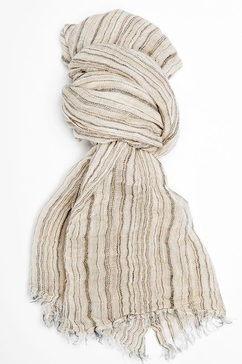 Grey striped linen shawl 1
