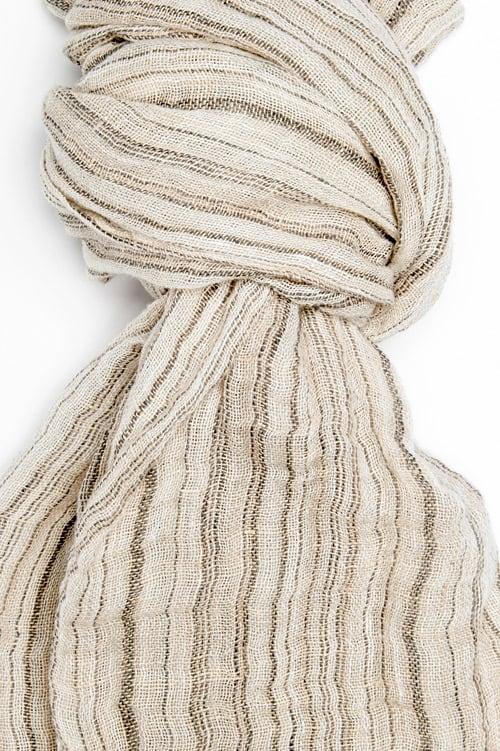 Grey striped linen shawl 2