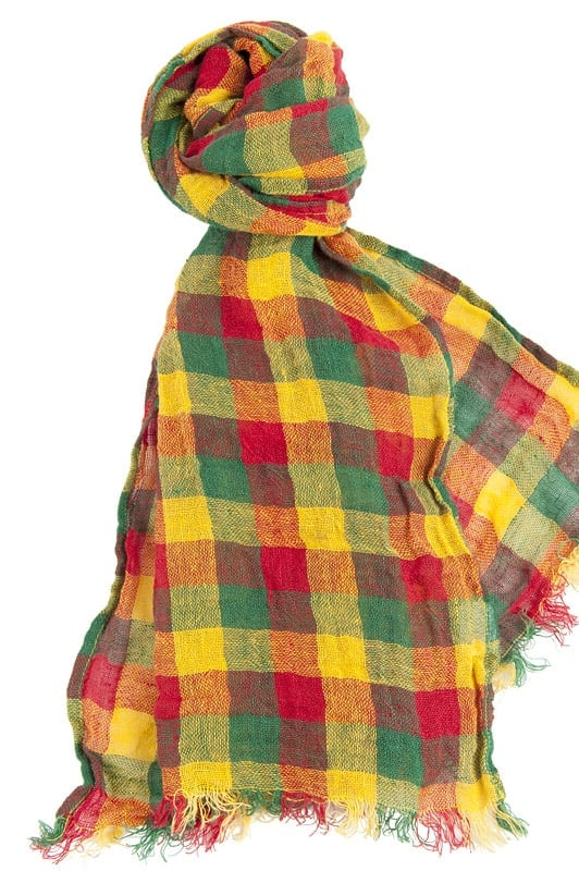 Three-coloured checked linen shawl 1