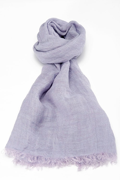 Lilac linen shawl with fringes 1