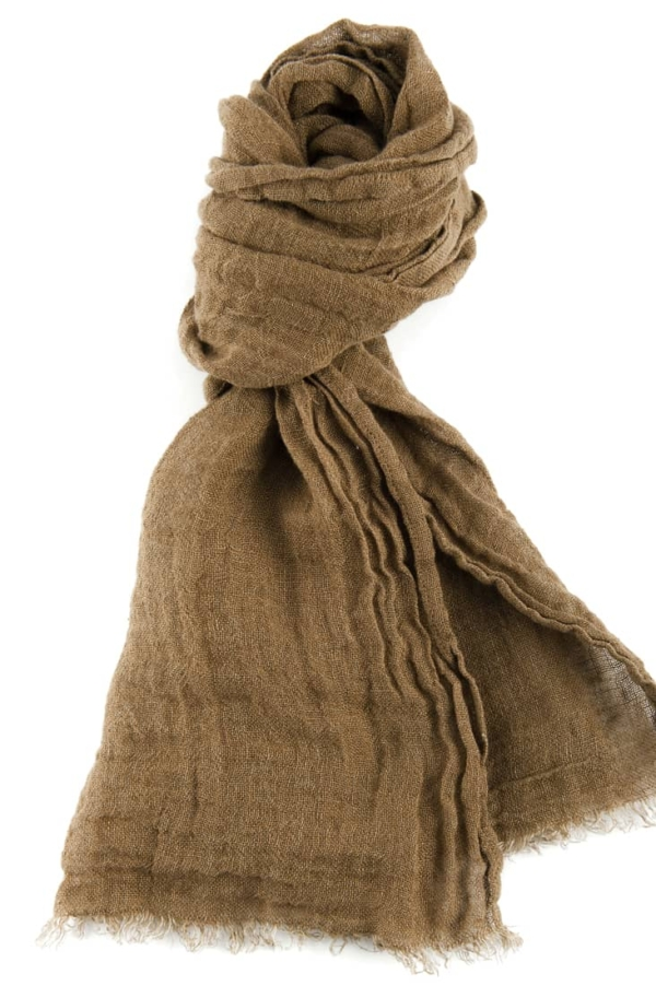 Brown linen shawl with fringes 1