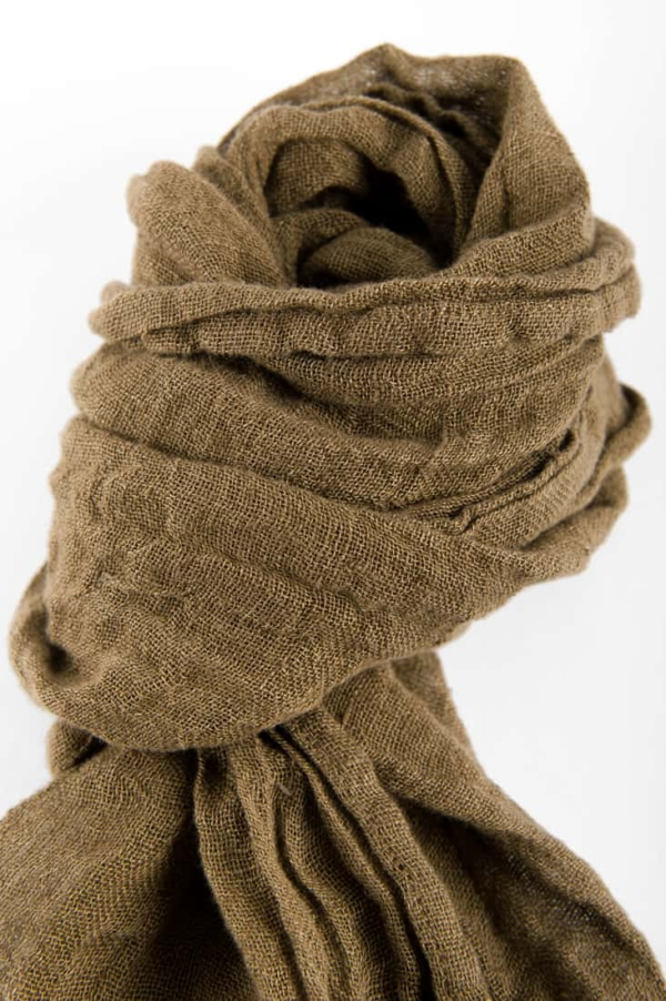 Brown linen shawl with fringes 2