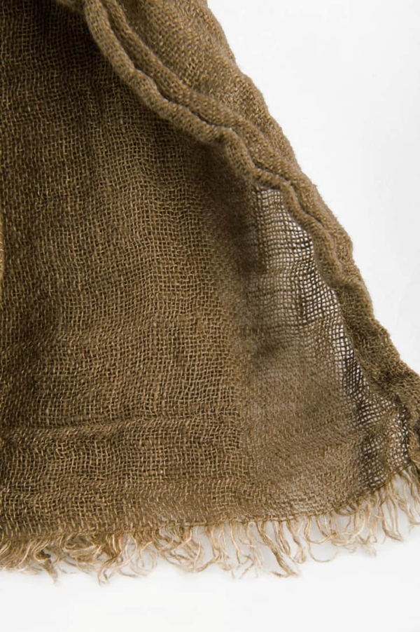 Brown linen shawl with fringes 3