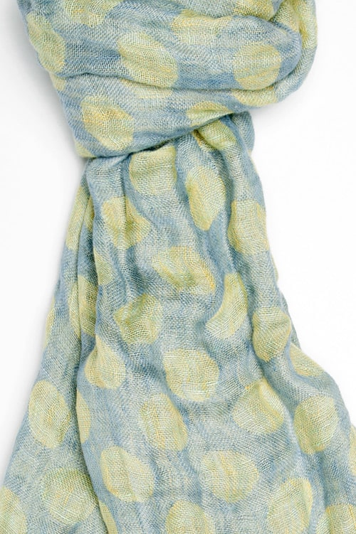 Blue linen shawl with yellow dots 2