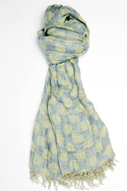 Blue linen shawl with yellow dots 1