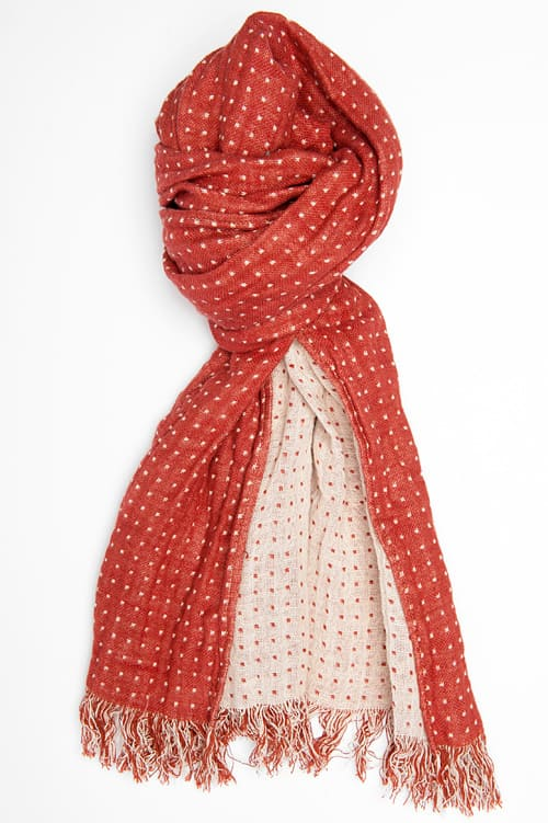 Red & white dotted linen shawl with fringes 1