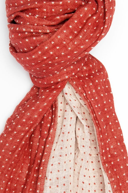 Red & white dotted linen shawl with fringes 2