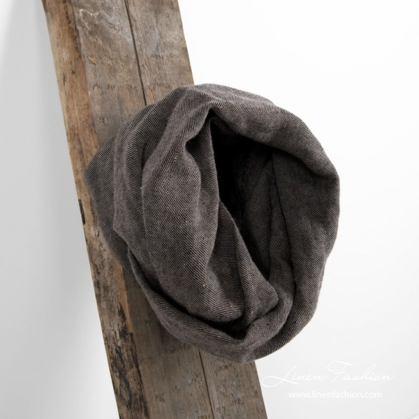 Linen wool tube scarf in brown and black 1