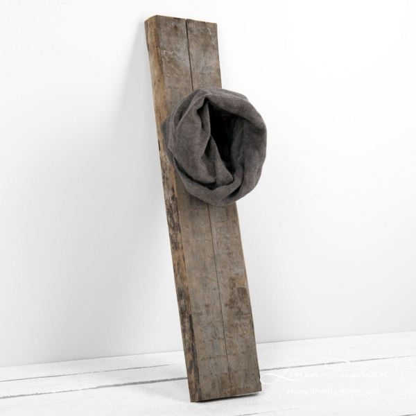 Linen wool tube scarf in brown and black 2
